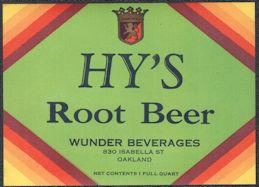 #ZLS244 - Deco Design Hy's Root Beer Soda Bottle Label Variant - Oakland, CA