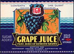 #ZBOT111 - IGA WWII Grape Juice Label