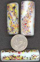 #BEADS0149 - Very Large Very Colorful Ceramic Handmade Splatter Glass Bead
