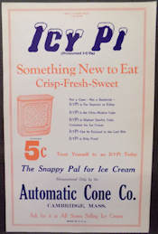 #SIGN131 - Large Old Icy Pi Ice Cream Treat Paper Sign
