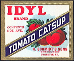 #ZBOT184 - Idyl Brand Tomato Catsup Bottle Label