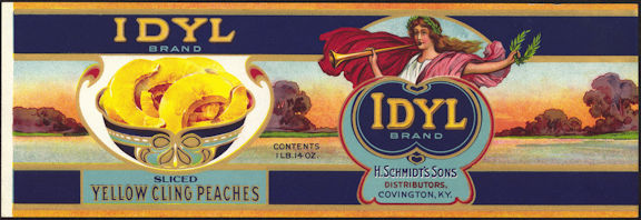 #ZLCA203 - Large Idyl Brand Peaches Can Label
