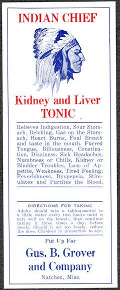 #ZBOT226 - Indian Chief Kidney and Liver Tonic Bottle Label - Natchez, Mississippi