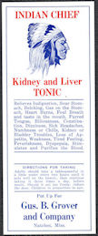 #ZBOT226 - Indian Chief Kidney and Liver Tonic Bottle Label - Natchez, Mississippi