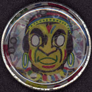 #TY389 - Tin Pill Puzzle with Lithographed Indian Chief - Japan