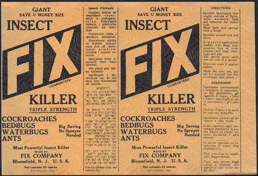 #ZBOT415 - Group of 3 Very Large Fix Insect Killer Bottle/Can Labels