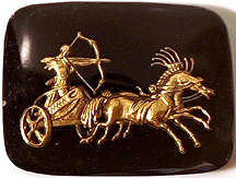 #BEADS0548 - Large 28mm Black and Gold Intaglio Featuring a Charioteer with a Bow and Arrow - As low as $1 each