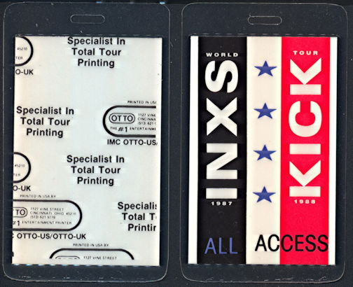 ##MUSICBP0325  - 1987-88 INXS Laminated Backstage Pass from the Kick World Tour