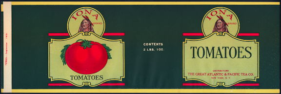 #ZLCA277 - Iona Tomatoes Can Label - Great Atlantic & Pacific Tea Co.