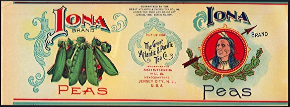 #ZLCA270 - Iona Peas Can Label - The Great Atlantic and Pacific Tea Co. - Indian