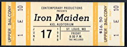 ##MUSICBP0298 - Iron Maiden Ticket for a June 17, 1988 Concert at Kiel Auditorium