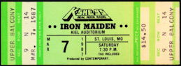 ##MUSICBP0447 - 1987 Iron Maiden Ticket from St. Louis Kiel Auditorium Concert