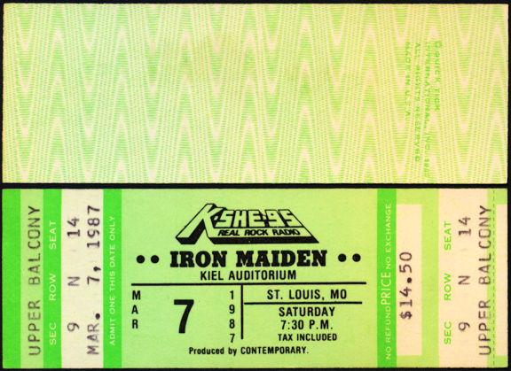 ##MUSICBP0447 - 1987 Iron Maiden Ticket from St. Louis Kiel Auditorium Concert