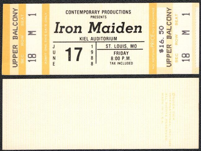 ##MUSICBPT0034 - Iron Maiden Ticket for a June 17, 1988 Concert at Kiel Auditorium