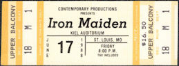 ##MUSICBPT0034 - Iron Maiden Ticket for a June 17, 1988 Concert at Kiel Auditorium