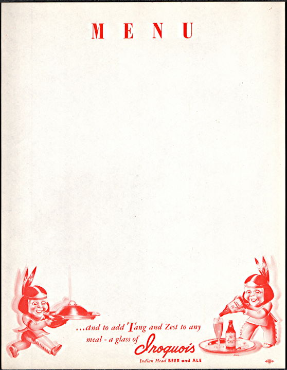 #SP077 - Iroquois Beer Menu Sheet - Indians