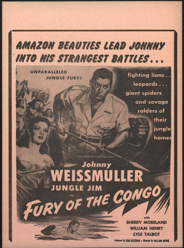 "#CH326-04  - Rare 1951 ""Fury of the Congo"" Johnny Weissmuller as Jungle Jim Movie Broadside/Poster"
