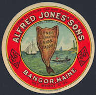 #ZBOT165 - Alfred Jones' Sons Celebrated Finan Haddie Jar Label - Bangor, Maine - As low as 25¢ each