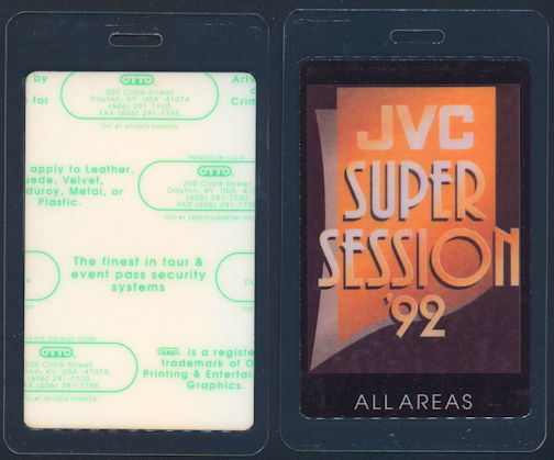 ##MUSICBP0281  - 1992 Laminated OTTO Backstage Pass for the JVC Super Session Concert that Featured B. B. King and Robert Cray