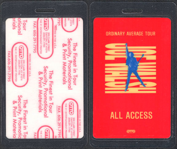 ##MUSICBP0682 - Joe Walsh OTTO Laminated All Access Backstage Pass from the 1991 Ordinary Average Tour