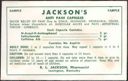 #CS172 - Group of 4 Sample Envelopes of Jackson's Anti Pain Capsules