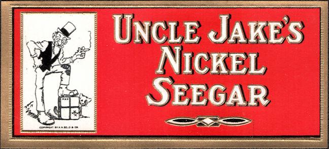 #ZLSC115 - Group of 4 Uncle Jake's Nickel Seegar Inner Cigar Box End Labels