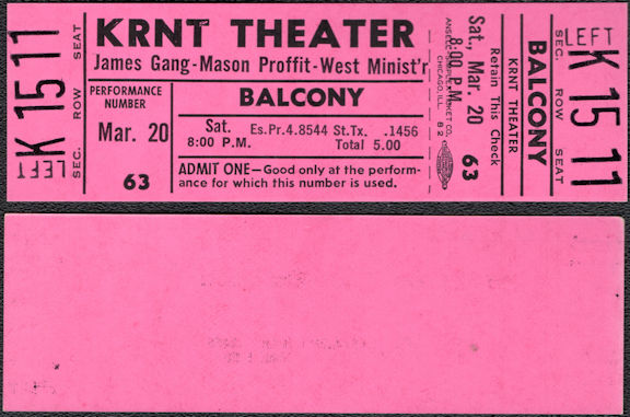 ##MUSICBPT0041 - 1971 James Gang (Joe Walsh)/Mason Proffit/West Minist'r Ticket from the KRNT Theater