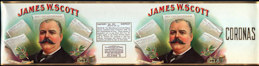 #ZLCA908 - Rare Large Double Image James W. Scott Cigar Can Label