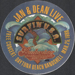 ##MUSICBP0868 - Super Rare Jan & Dean OTTO Cloth Promotional Backstage Pass from the Concert at the Daytona Beach Bandshell