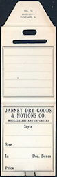 #ZZZ174  - Group of 4 Merchandise Tags from the Janney Dry Goods & Notions Co.