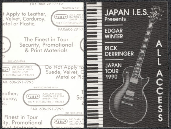 ##MUSICBP0670 - Edgar Winter and Rick Derringer OTTO Cloth Backstage All Access Pass from the 1990 Japan Tour