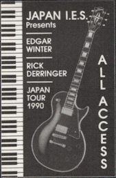 ##MUSICBP0670 - Edgar Winter and Rick Derringer OTTO Cloth Backstage Pass from the 1990 Japan Tour
