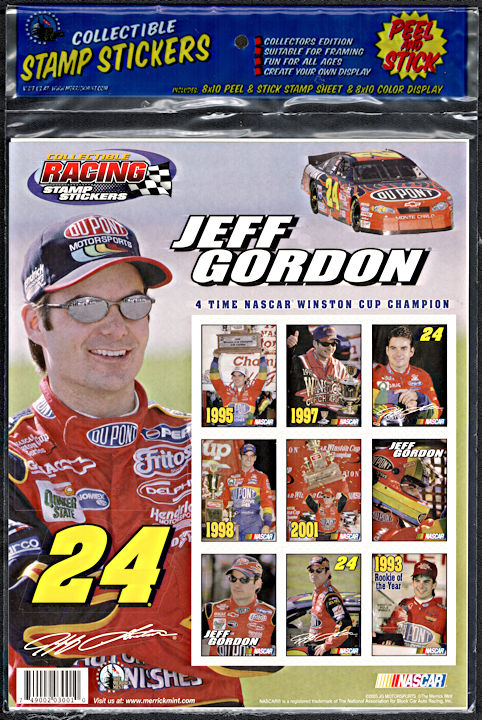 #CA139 - Large Package of Licensed Nascar Jeff Gordon Stamp Stickers