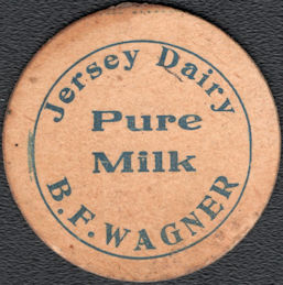 #DC249 - Very Early and Very Rare B. F. Wagner Jersey Dairy Milk Bottle Cap - Marietta, OH