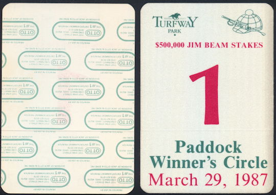 #BA718 - March 29, 1987 Jim Beam Stakes Paddock Winner's Circle Pass - As low as $2.50 Each