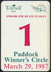 #BA718 - March 29, 1987 Jim Beam Stakes Paddock Winner's Circle OTTO Pass - As low as $2.50 Each