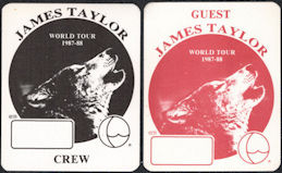 ##MUSICBP0127 - Pair of James Taylor OTTO Cloth Backstage Passes from the 1987/88 Tour