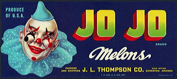 #ZLCA*058 - Jo Jo Melons Crate Label - Unusual Label with Clown