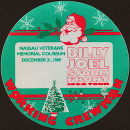 ##MUSICBP0455 - Billy Joel T-Bird Cloth Backstage Pass from the 1989 Storm Front Tour - Santa