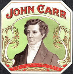#ZLSC109 - John Carr Outer Cigar Box Label
