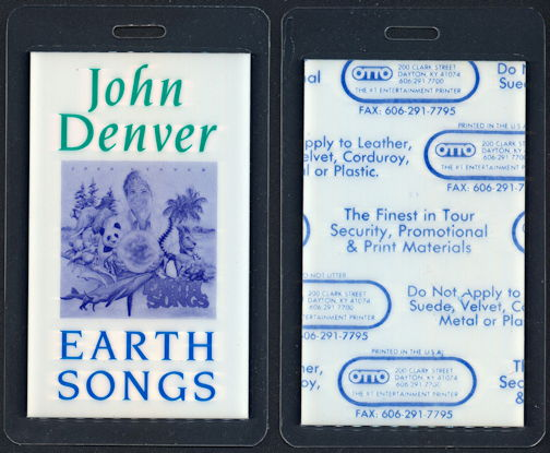 ##MUSICBP0323  - John Denver Laminated OTTO Backstage Pass from Earth Songs