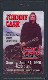 ##MUSICBP0162 - Johnny Cash Laminated OTTO Backstage Pass for his Concert at Sam's Town Casino in 1996