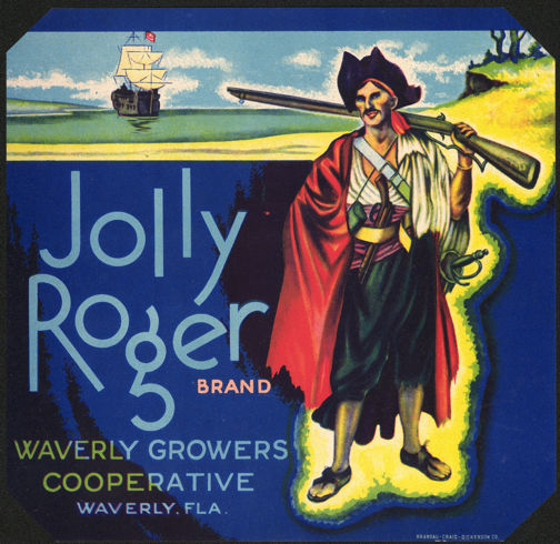 #ZLC260 - Jolly Roger Orange Crate Label Picturing a Pirate and Pirate Ship
