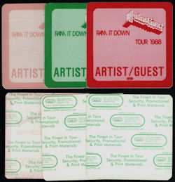 ##MUSICBP0755 - Group of 3 Differently Colored Cloth Judas Priest Artist/Guest OTTO Cloth Backstage Passes from the 1988 Ram it Down Tour