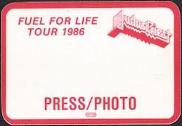 ##MUSICBP0567  - 1986 Judas Priest OTTO Cloth Backstage Pass from the Fuel for Life Tour