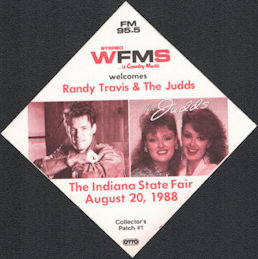 ##MUSICBP0853 - WFMS Radio Promo Pass for the Judds and Randy Travis Concert on August 20,1988 - Indiana State Fair