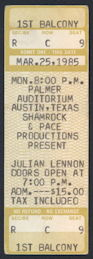 ##MUSICBP0280 - Scarce Julian Lennon (John Lennon's Son) Ticket from his March 25, 1985 Concert at Palmer Auditorium - As low as $4 each