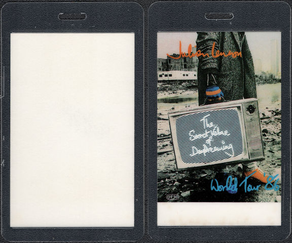 """##MUSICBP0625 - 1986 Julian Lennon OTTO Laminate Backstage Pass from The """"Secret Value of Dreaming"""" Tour"""