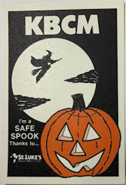 #HH218 - Group of 4 St. Luke's and KBCM Radio Station OTTO Glow in the Dark Halloween Stickers