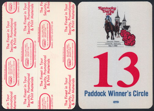 #BA710 - May 7, 1988 Kentucky Derby Paddock Winner's Circle Pass - As low as $2.50 Each